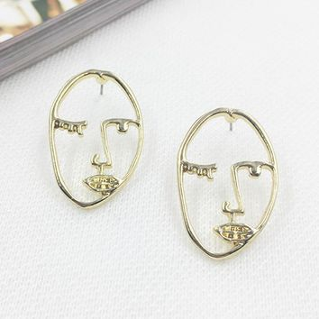 2017 Trendy Personality Funny Hollow Face Earrings Design Ear Accessories Women Brincos Geometric Earings Fashion Jewelry
