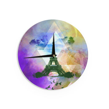 "AlyZen Moonshadow ""EIFFEL TOWER (PURPLE)"" Yellow TravelWall Clock"