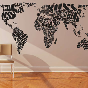 "Wall Decal Vinyl Sticker Home Decor Modern Art Mural "" World MAP "" 68.5'' x 133"""