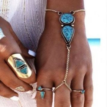 Turquoised - Hand Harness Ring
