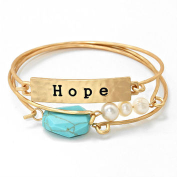 3-LAYERS Gold & Turquoise Stone Fresh Water Pearls Hope Inspirational Stack Layered Bracelet Bangles