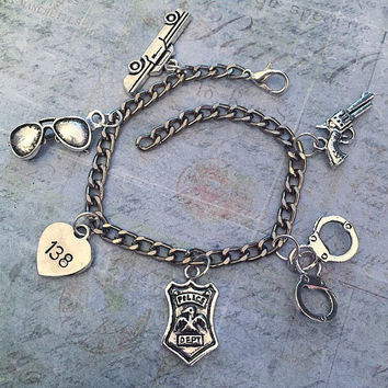 Customized Police Officer Charm Bracelet, Police Officer Jewelry, Police Wife, Police Mom, Police Girlfriend, Deputy Jewelry, Police Dept