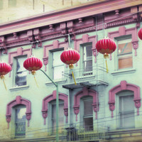 San Francisco Chinese lantern photo - Red Lanterns - Fine Art Photography Print  Ruby Red Jade Green Decor chinatown asian 8x10