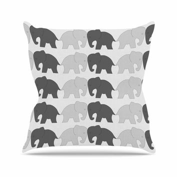 "NL Designs ""Elephants On Parade"" Gray Animals Outdoor Throw Pillow"