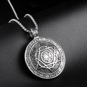 RIR Magen Israel Star Of David Pendant Supernatural Male Necklace Vintage Punk Silver Stainless Steel Round Shape Pendants
