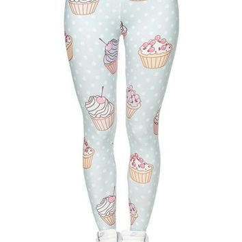 Polka Dot Cupcakes Print Leggings
