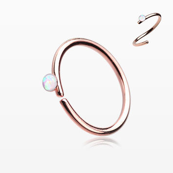 Rose Gold Opal Sparkle Bendable Steel Nose Hoop
