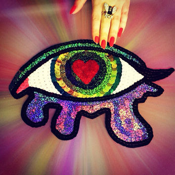 Custom Heart Broken Crying Eye Sequin Applique Creation