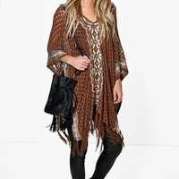 Kayla V Neck Patterned Poncho