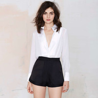 Black High-Waisted Double Pocket Shorts