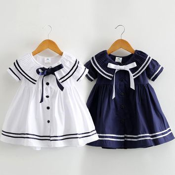 Baby Girl Dress 2018 Fashion Navy Style Baby Clothes Pleated Collar Princess Party Birthday Dresses Sailor Kids Girls Clothes
