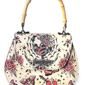 Liquor brand Gypsy Queen Flash Tattoo Art Bamboo Handle Tiki handbag