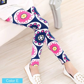 Girls Tribal Floral Pattern Leggings