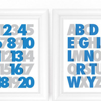 ABC and 123 Nursery Art Prints SET - Modern Alphabet and Numbers in Blue & Gray 8x10 Nursery or Kids Room Wall Art - Choose Your Colors