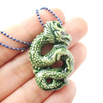 Oriental Dragon Shaped Porcelain Ceramic Pendant Necklace in Green | Mythical Creatures Collection
