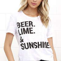 Chaser Beer Lime and Sunshine Ivory Tee