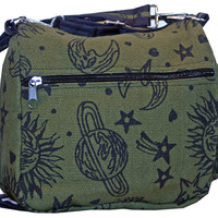 Sun Moon Stars and Planets Celestial Hippie Boho Crossbody Bag