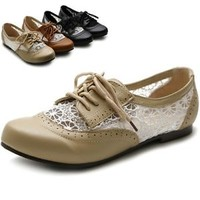 Ollio Womens Flats Shoes Classic Lace Up Floral Breathable Oxford