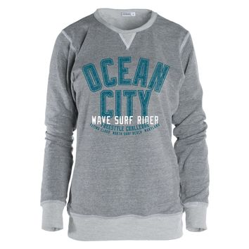 Venley Vintage Ocean City Maryland Women's Boyfriend Fit TriBlend Crew Neck Sweatshirt