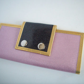 Women's wallet metalflake sparkle vinyl light pink and black, and gold trim
