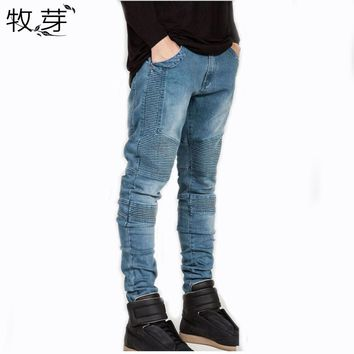 2016 Mens Skinny jeans men Runway Distressed slim elastic jeans denim Biker jeans hiphop pants Washed black jeans for men