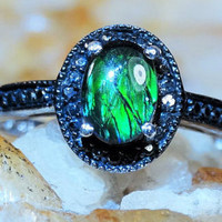 Natural Canadian Ammolite/Black Diamond Ring sz7 .87ct 3 Gem Comfort Fit 925 Sterling Silver Free Domestic Shipping