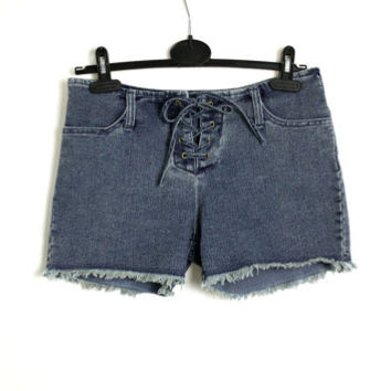 Vintage 90's Blue Denim Mini Shorts Lace Up Raw Edge  - Xsmall to Small