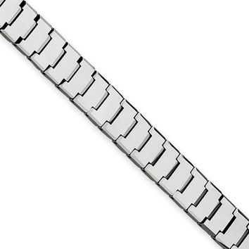 12mm Tungsten Crafted Polished Watch Link Bracelet - 8.5 Inch