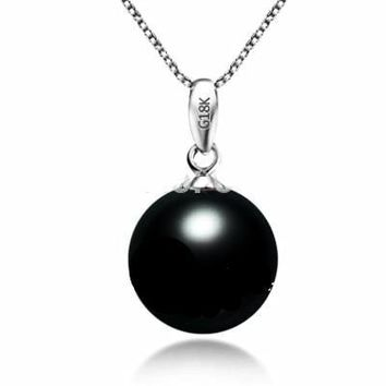 Natural Tahitian Black Pearl Necklace & Pendant With G18K Gold Pendant 10-11Mm Pearls Jewelry
