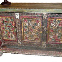 Buffet Chest/ Antique Jaipuri Colorful Floral Sideboard/Wooden Furniture/ Vintage Sideborad