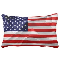 The Flag of the United States of America Lumbar Pillow