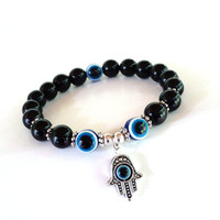 Evil Eye Beaded Bracelet Protection Yoga Jewelry Hamsa Blue Black Unique Gift For Her or Him Under 20 Item S55