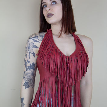 Red Leather Vintage Fringe Halter