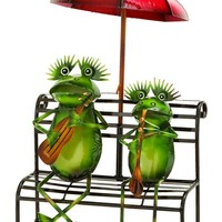 Outdoor Decor Practicing Musician Garden Frogs