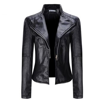 Autumn Winter Faux Soft Leather Jacket Women Motorcycle Outerwear Pu Black Female Coat jaquetas de couro feminino