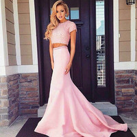 Short Sleeve Prom Dresses,Pink Prom Dress,Long Evening Dress