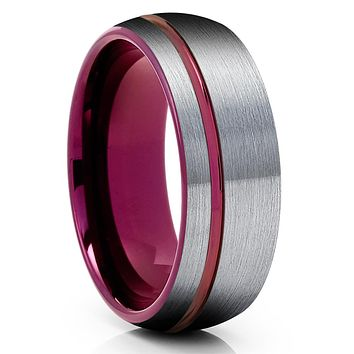 Purple Tungsten Wedding Band - Purple Tungsten Ring - Gray Tungsten - Brush