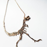 Dinosaur necklace,skeleton necklace,t rex necklace, bone necklace, gold jewelry,statement necklace, kitsch necklace,  dinosaur, tatty devine