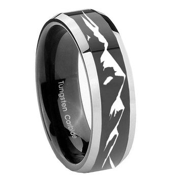 8MM Glossy Black Sound Wave I love you Bevel Edges 2 Tone Tungsten Laser Engraved Ring