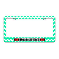 I Love My Wiener - Daschund - License Plate Tag Frame - Teal Chevrons Design