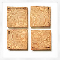 Wood burned arrow reclaimed wood coasters. Set of 4 square cedar post coasters with cork backing.