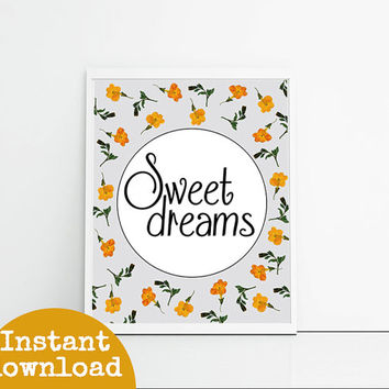 Sweet Dreams - Lilac, Grey, Green And Orange - Floral Wall Art Instant Download Printable Art - Gift For Her - Flower Art Digital Art