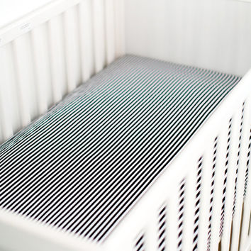 Black and White Stripe Crib Sheet, Gender Neutral Crib Sheet, Fitted Crib Sheet, Stripe Crib Sheet, Changing pad cover, mini crib sheet