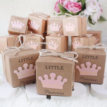 10Pcs Kraft Paper Gift Box Candy Boxes Baby Shower Decorations Wedding Favors and Gifts Box for Guests 2*2*2inch Party Supplies