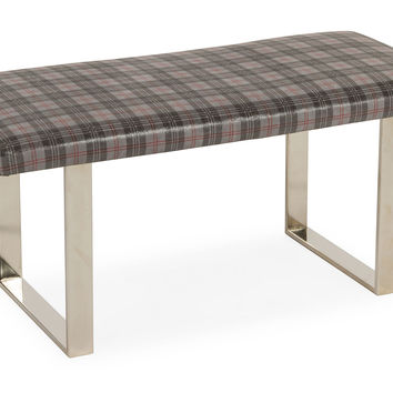 """Bebe 38"""" Leather Bench, Gray Plaid, Entryway Bench, Bedroom Bench"""