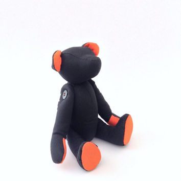 Black Teddy Bear, Halloween Bear, Black and Pumpkin orange , Halloween Decor, Halloween gift for baby