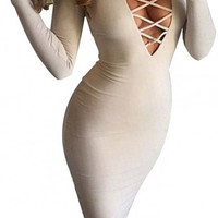 Women Long Sleeve Autumn Warm Stretch Bodycon Party Bandage Dresses