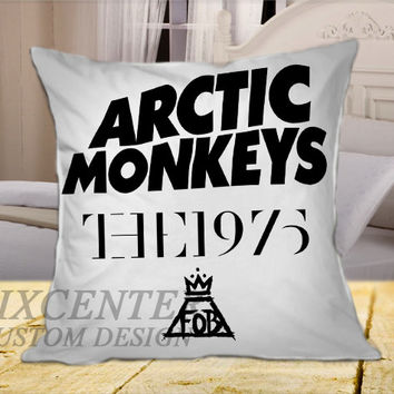 Arctic Monkeys the 1975 The Fall Out Boy White on Square Pillow Cover