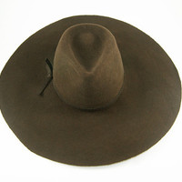 Brown Wide Brimmed Fedora Hat / fur felt hat /  Winter hats