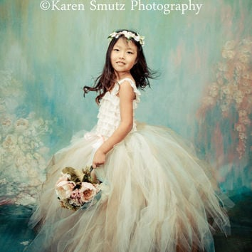 The Vintage Luxe Couture Tulle Skirt - Sewn Tutu - champagne and gold - for flower girls, portraits, formal events